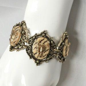 Vintage Egyptian Revival Faux Snake Skin Bracelet